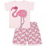 JAJADO Little Girls's Short Pajamas Cute Cotton Kids Toddler Summer Sleepwear Clothes PJS Sets Pink-Flamingo 12-24 Months