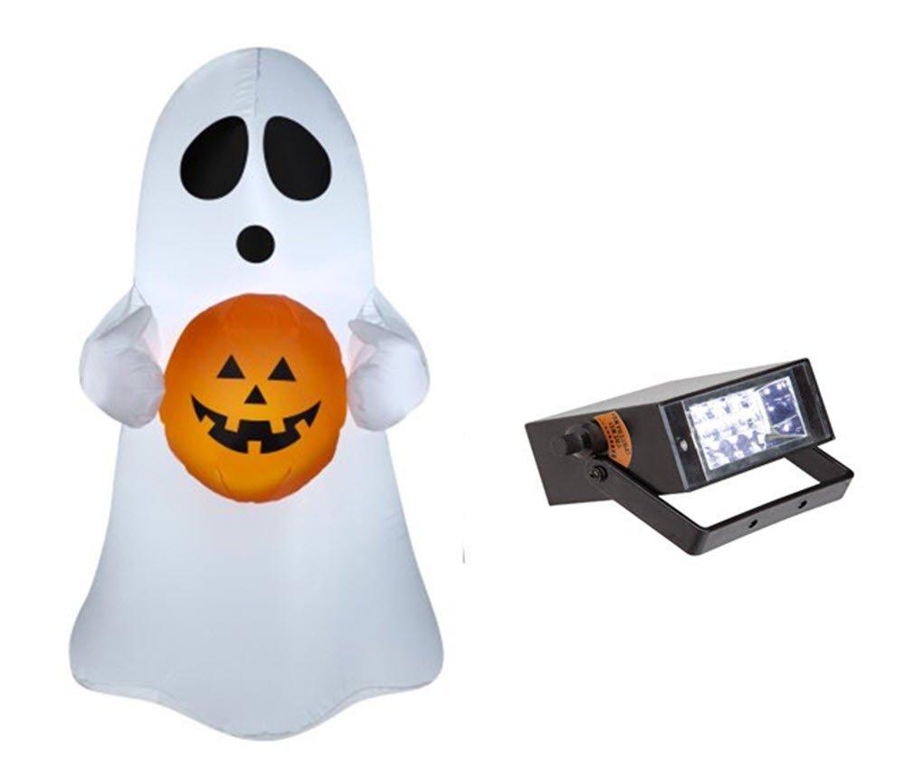 Halloween Inflatable Airblown Spooky Ghost with Pumpkin 3.5' Tall & Bonus Mini Strobe Light Bundle