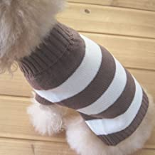 Turtleneck Stripes Pet Clothes Dog Wool Classic Sweaters (Brown&White Stripe, M)