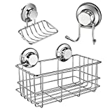iPEGTOP Strong Suction Cup Deep Shower Caddy Bath Shelf Storage + Soap Dish Holder + Double Towel Hooks Stainless Steel for Shampoo, Conditioner, Soap, Razor Bathroom Kitchen Accessories, 3 Sets
