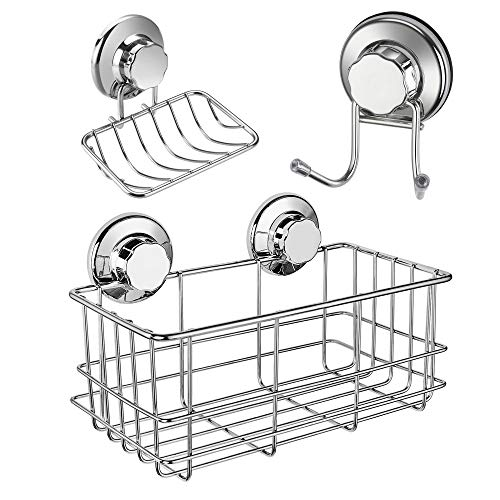 (iPEGTOP Strong Suction Cup Shower Caddy Bath Organizer Storage Basket Soap Dish Holder Hooks Stainless Steel Shampoo, Conditioner Bathroom Accessories, 3 Sets)