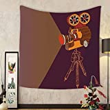 Gzhihine Custom tapestry Vintage Decor Tapestry Classic Movie Theater Machine with Cinema Fest Typography Past Filmmaker for Bedroom Living Room Dorm Brown Purple