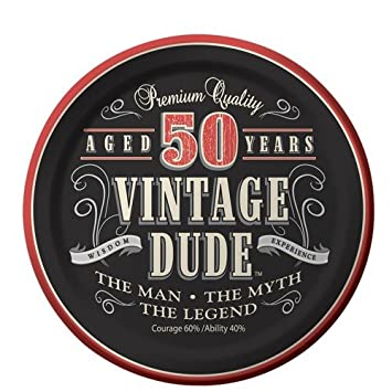 50th Birthday Vintage Dude Aged 50 Years Edible Icing Image Cake Cupcake Topper