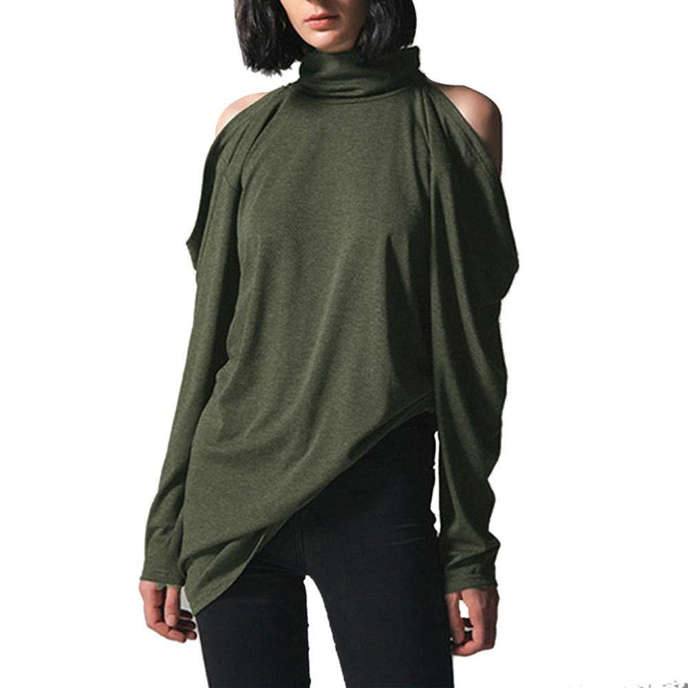 Feccile Women Cold Shoulder Turtleneck Fashion Long Sleeve Cut Out T Shirts Top