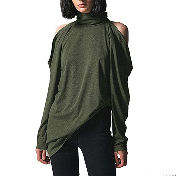Luckycat Moda Mujer Sólido Cuello Alto Suelta Frío Hombro Blusa Top Camisa Casual (Ejercito Verde