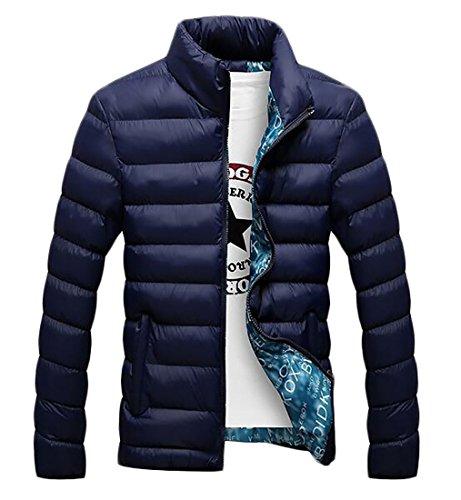 today-UK Mens Down Jacket Winter Padded Lightweight Puffer Outwear Stand Collar Coats Dark Blue