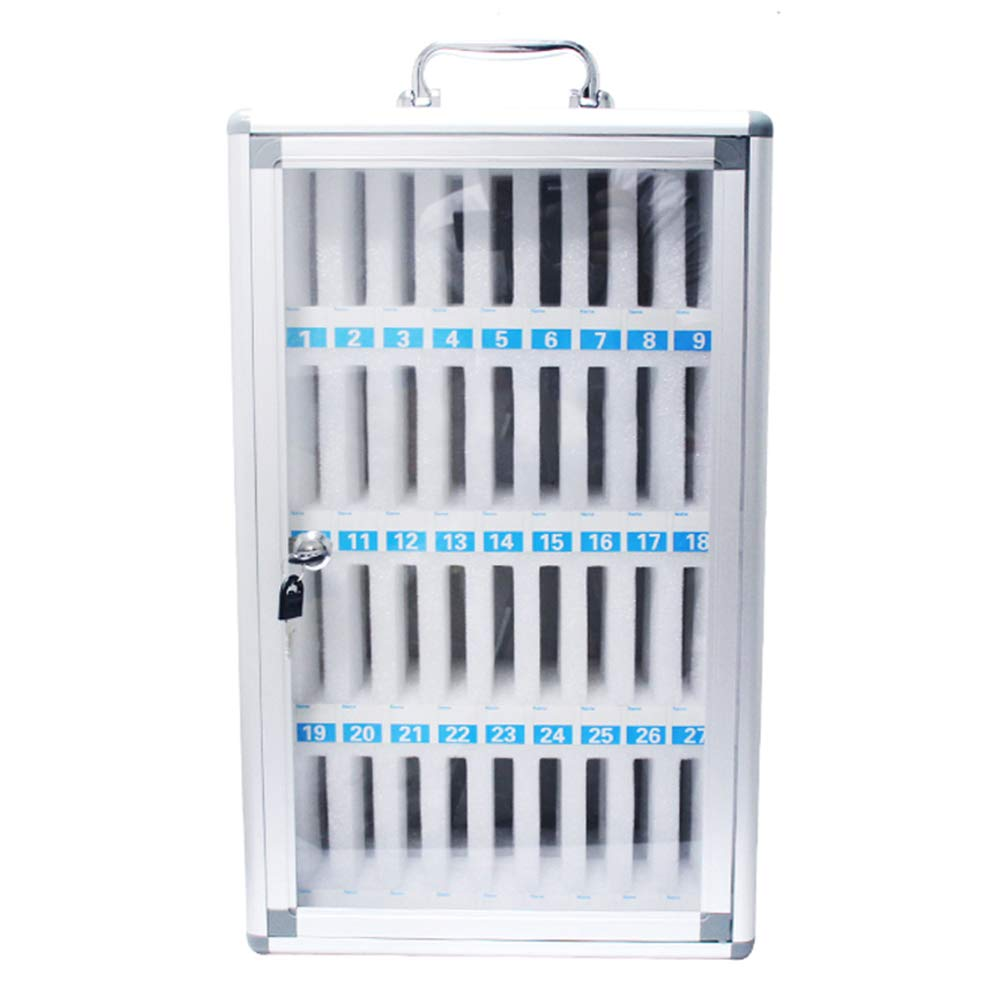 Loghot Aluminum Alloy Pocket Chart Cell Phones Storage Cabinet for Cell Phones,Wall-Mounted with a Locked,Can be Carried by Hand(36 Slots)