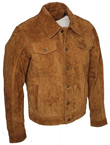 Marrone Shirt Informale Jeans Uomini Pelle Jacke Di Scamosciata Trucker Capra waxqTpI