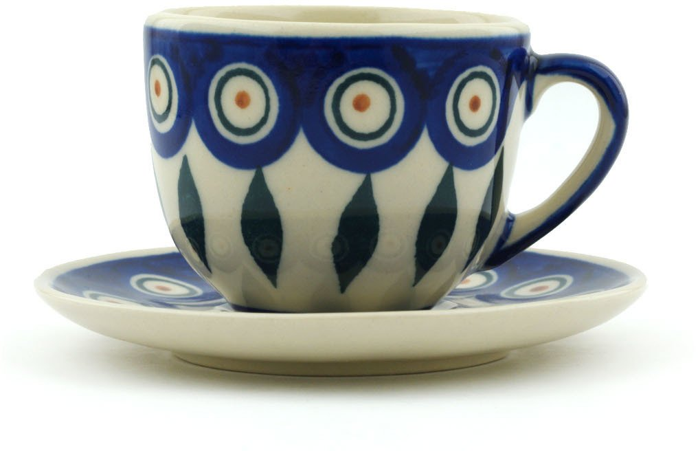 Polish Pottery 2 oz Espresso Cup with Saucer (Peacock Theme) + Certificate of Authenticity Boleslawiec