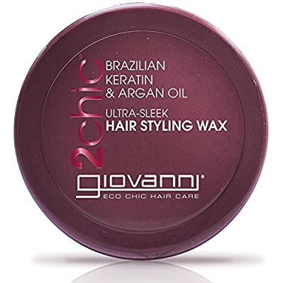 GIOVANNI COSMETICS 2Chic Brazilian Keratin & Argan Oil Ultra-Sleek Hair Styling Wax - Flexible Hold To Define Wave Pattern And Curls (2 Ounce / 57 Gram)