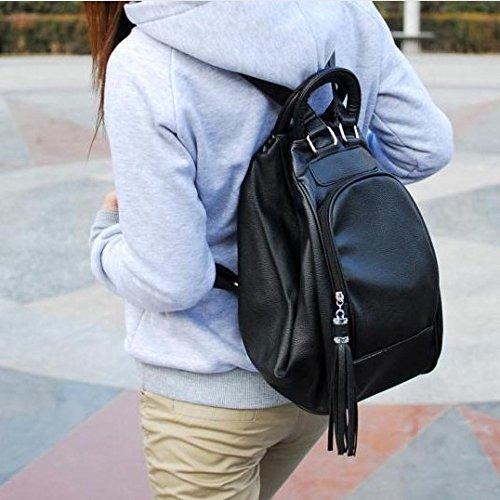 Tassel donna Pu nero Zipper Bag Backpack con Kyoiyro il t7xURZqwt