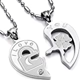 "Valentine Couple's ""Love You"" Lock and Key Pendant Necklaces Titanium Stainless Steel (One Pair) image"