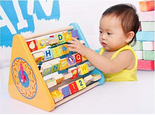 SHANBUYERS Wooden 5 Side Educational Activity Triangle ABC and Number Learning Puzzle for Kids (Multicolour)