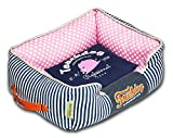 Cheap TOUCHDOG 'Polka-Striped' Polo Easy Wash Rectangular Fashion Designer Pet Dog Bed Lounge, Medium, Navy Blue, Pink