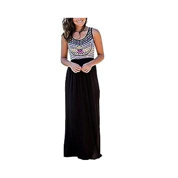JUNHONGZHANG Vintage Totem Impreso Vestido Largo Mujer Sin Mangas Sundress Verano Boho Playa Damas Casuales Vestidos