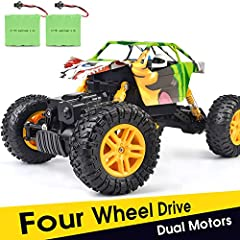 Personality Graffiti:This RC Car design with individual graffiti car shell which make the car unique.DOUBLE E new version cross-country graffiti car will give your kids a fashionable,fresh,special driving experienceExcellent Driving Performan...