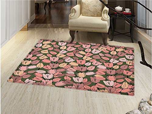 Rug Cocoa Flower (smallbeefly Flower Door Mat Small Rug Pattern with Retro Tulips Springtime Garden Park Seasonal Nature Stylized Art Bath Mat 3D Digital Printing Mat Coral Cocoa Cream)