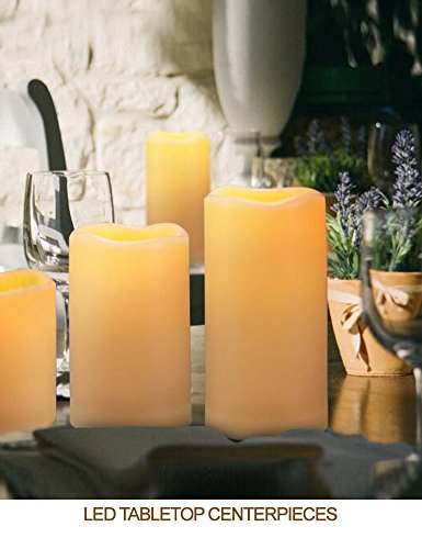 """HOME MOST Set of 4 Waterproof LED Pillar Candles with Timer (CREAM, 3""""/4""""/5""""/6"""" Tall, Wavy Edge) - Outdoor Battery Candles Faux Candles Flickering Flameless Candles - LED Fake Candles Bulk Home Decor"""