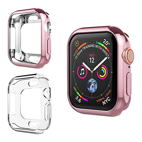 Alritz Compatible Apple Watch 4 Case 40mm, Soft Clear TPU Protective Case Flexible Anti-Scratch Bumper Cover Apple Watch Series 4 (Rose Gold + Clear)