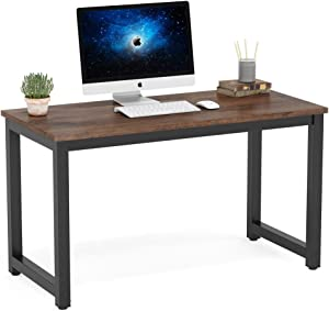 Tribesigns Modern Simple Computer Desk, 47 inch Vintage Office Desk Computer Table, Study Writing Study Desk Workstation for Home Office, Rustic Brown