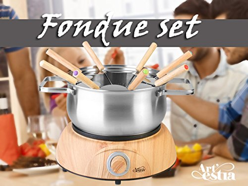 Artestia Electric Chocolate & Cheese Fondue Set, Serve 8 persons (Stainless Steel Pot, Wood Pattern Base) by Artestia (Image #1)