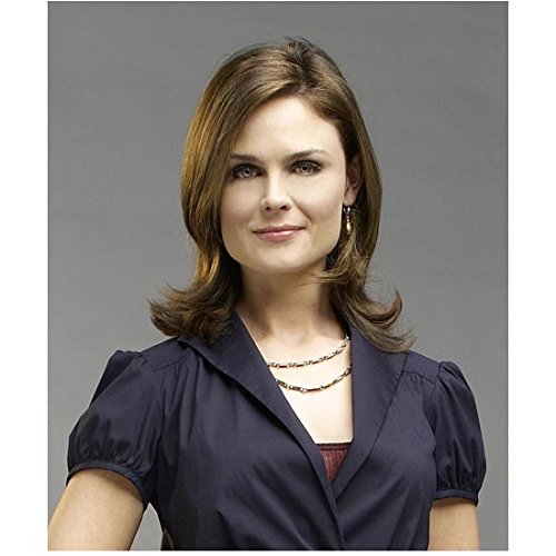 Bones 8 x 10 Photo Emily Deschanel Beautiful in Navy Blue Top & Double Chain Necklace kn