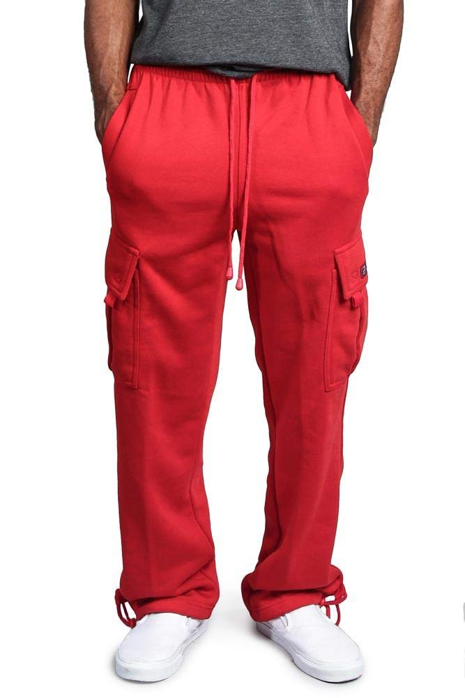 G-Style USA Men's Solid Fleece Heavyweight Cargo Pants FL77 - RED - 2X-Large