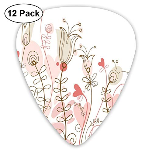 Guitar Picks 12-Pack,Wedding Themed Floral Illustration With Cute Little Hearts Blooming Abstract Art