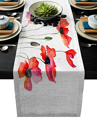 Watercolor Flower Cotton Linen Table Runner Rectangle Plate Mat Outdoor Rug Runner for Coffee Dining Banquet Home Decor, Poppies Wildflowers Nature Meadow Painting Watercolor Effect, 13 x 70 inch