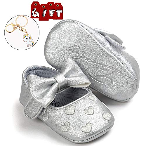 Infant Baby Girls Soft Sole Prewalker Crib Mary Jane Shoes Princess Light Shoes 0-6months(Silver11cm)