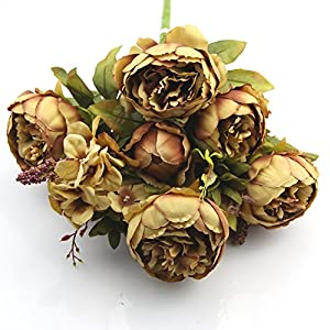 10 Head Bouquet Artificial Peony Silk Flower Fake Leaf Home Wedding Party Decor 10