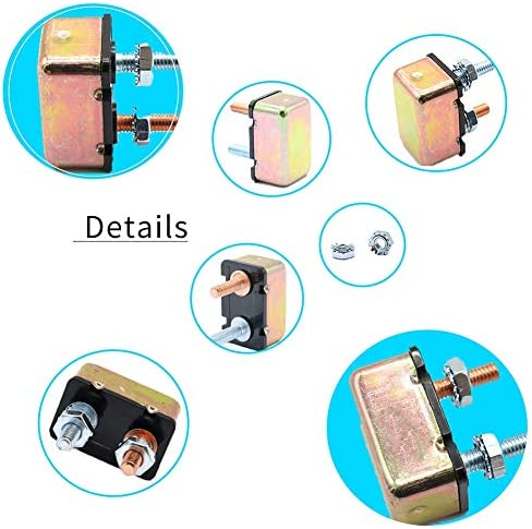 20A Terisass Car Circuit Breaker 12V Intelligent Power Off Automatic Fuse Reset Circuit Breaker with Metal Cover 10A 15A 20A 25A 30A 40A 50A Optional Universal