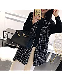 YUANZ Home Plaid Knit Scarf Female Autumn and Winter Warm Black and White Color Embroidery Scarf (Color : Black, Size : 180 * 70)