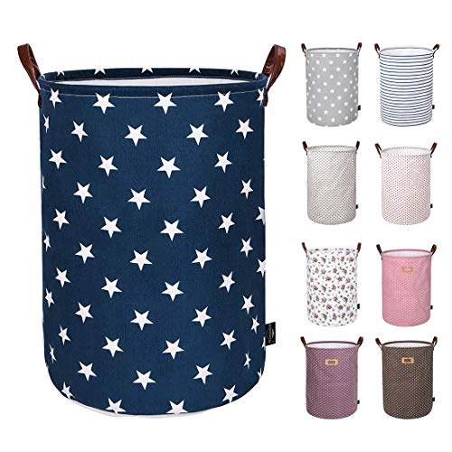 DOKEHOM 22-Inches Thickened X-Large Laundry Basket -(9 Colors)- with Durable Leather Handle, Drawstring Waterproof Round Cotton Linen Collapsible Storage Basket (Blue Star, XL) ()