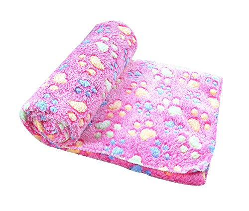 Freerun Pet Dog Cat Soft Warm Bed Blanket Mat Paw Print Custhion (Pink, M)