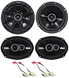 Package: Pair of Kicker 41DSC6934 6x9'' D-Series 3-Way Car Speakers Totaling 720 Watt Peak/180 Watt RMS + Pair of Kicker 41DSC654 6.5'' D-Series 2-Way Car Speakers Totaling 480 Watt Peak/120 Watt RMS