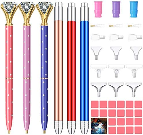 6 Pieces Diamond Painting Pens LED Light Point Drill Pens with 3 Adapter Holders, 5 Types Diamond Painting Pen Heads, 20 Glue Clay Diamond Painting Picker Tools Kit for DIY Decoration Nail Art