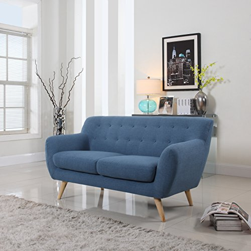 Amazon Com Mid Century Modern Linen Fabric Sofa Loveseat