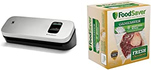 FoodSaver 31161366 Space Saving Food Vacuum Sealer, 5.7 x 12.2 x 4.3 inches, Silver & GameSaver 8