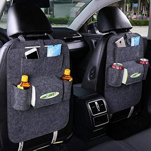 lazinem Car Seat Storage Bag Auto Multi-Pocket Felt Covers Organizer Storage Holder Seat Back Organizers