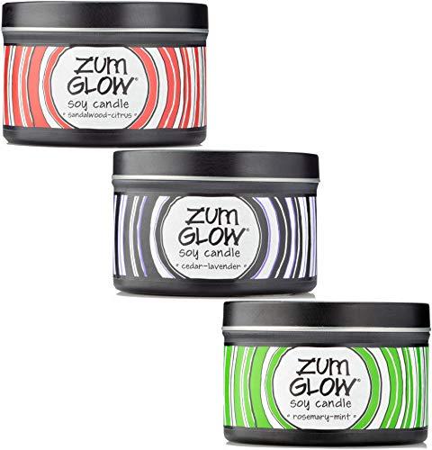 (Indigo Wild Zum Glow Aromatherapy Soy Candles Set, 7oz: Rosemary-Mint, Sandalwood-Citrus, Cedar-Lavender )