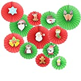 Christmas 12Pcs Red and Green Mix Party Paper Fans Santa Claus Pattern Hanging Decorations