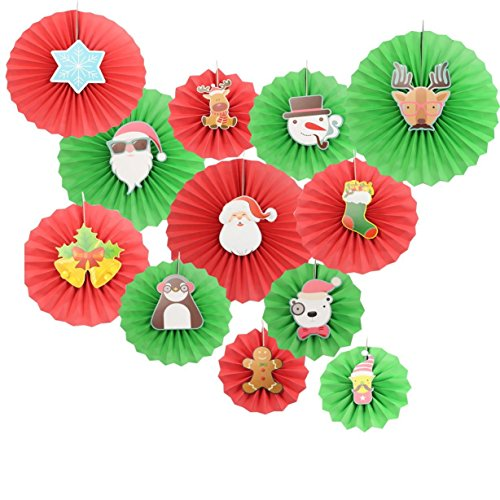 Christmas 12Pcs Red and Green Mix Party Paper Fans Santa Claus Pattern Hanging Decorations by Zilue