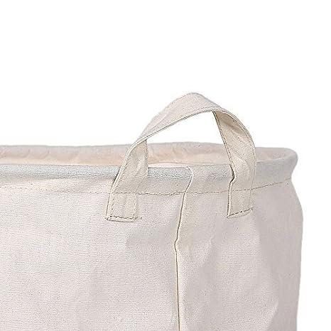 plegable 40cm x 40cmx 50cm algod/ón y lino ADD WATER AND SOAP Cesta para ropa para lavar Laat con asas de algod/ón y lino natural 100/%