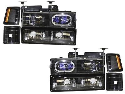Chevy Truck New 8-Piece Black Headlights Set w/Halo Ring and Xenon Headlight Bulbs