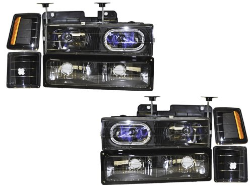 Chevy Truck New 8-Piece Black Headlights Set w/Halo Ring and Xenon Headlight Bulbs