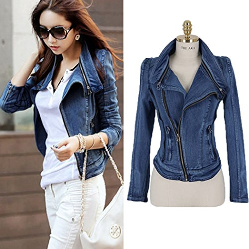 [SFY Women Stylish Punk Lapel Zipper Denim Jean Coat Jacket Slim Outerwear] (Denim Romper Costume)
