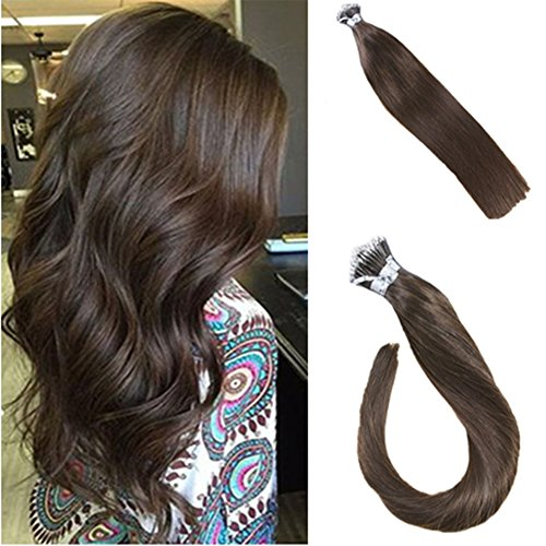 LaaVoo 16 Inch Fusion Keratin Remy Brown Hair Extensions Nano Ring Hair Stick Tip Human Hair 50g/50s (Hair Extensions Stick)