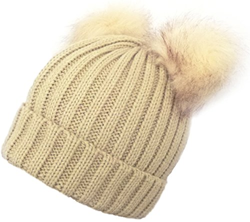 Fashion 21 Women's Winter Trendy Warm Knit Beanie Hat with Pom Pom Ears (3 Colors Available) ()