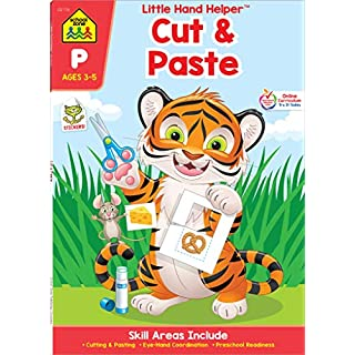 School Zone - Cut & Paste Skills Workbook - Ages 3 to 5, Preschool to Kindergarten, Scissor Cutting, Gluing, Stickers, Story Order, Counting, and More (School Zone Little Hand Helper™ Book Series)